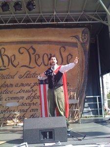JBT performing as corporate america man