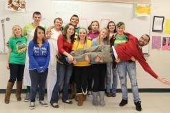 Jbt with Doddridge students holding him