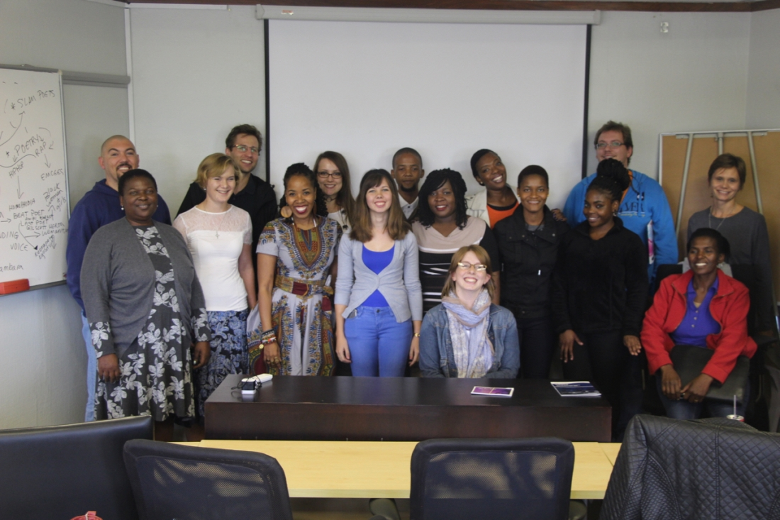 Group photo after UNISA poetry workshop.