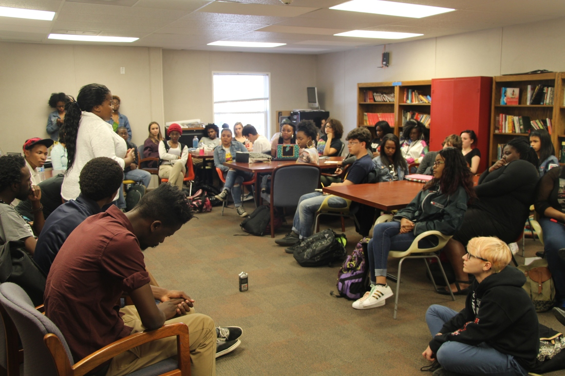 Mantombi speaking at Duke Ellington School of Arts