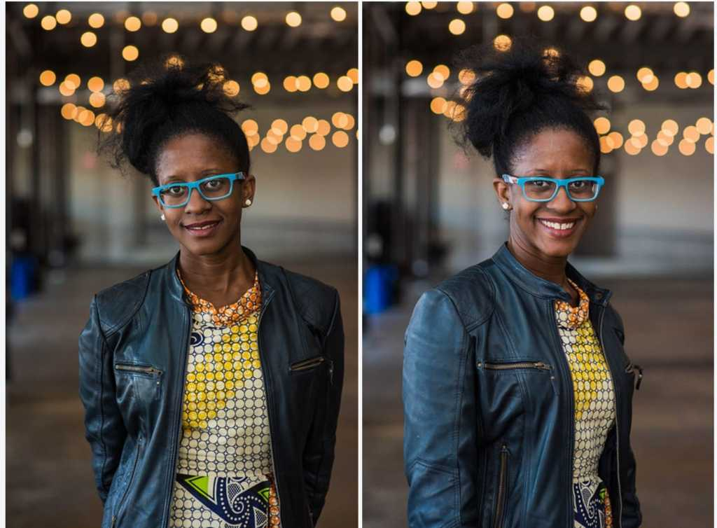Two photos of Holly Bass, a beautiful Black woman with her hair up and bright blue framed glasses. She's wearing a black jacket over a yellow top and smiling.