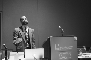 photo of JBT speaking at AWP conference